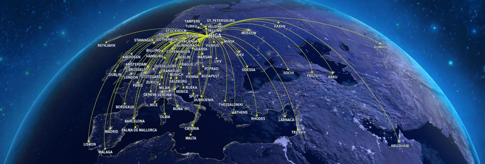 Карта напрямків airBaltic