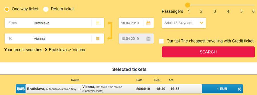 Братислава - Відень, приклад бронювання квитків