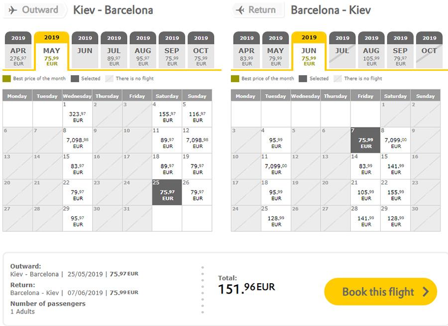 Авіаквитки з Києва у Барселону в два боки