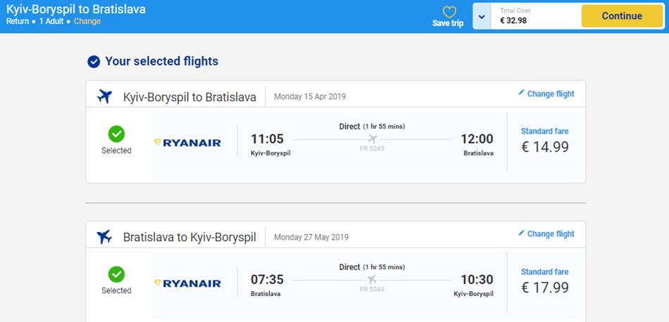 Лоукост-авіаквитки Київ - Братислава - Київ