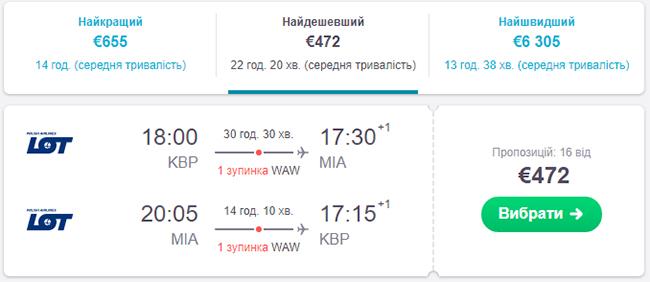 Київ - Маямі - Київ від €472