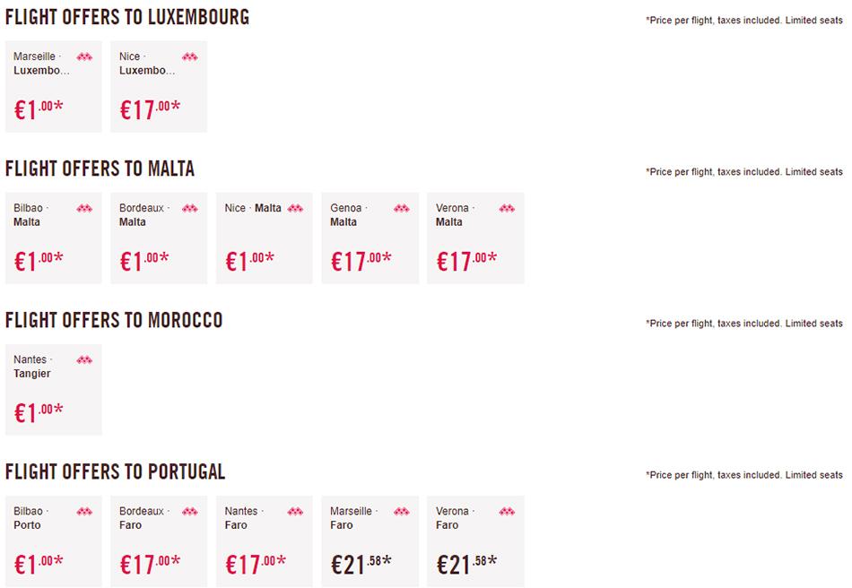 Перельоти в Люксембург, Марокко, Португалію та на Мальту
