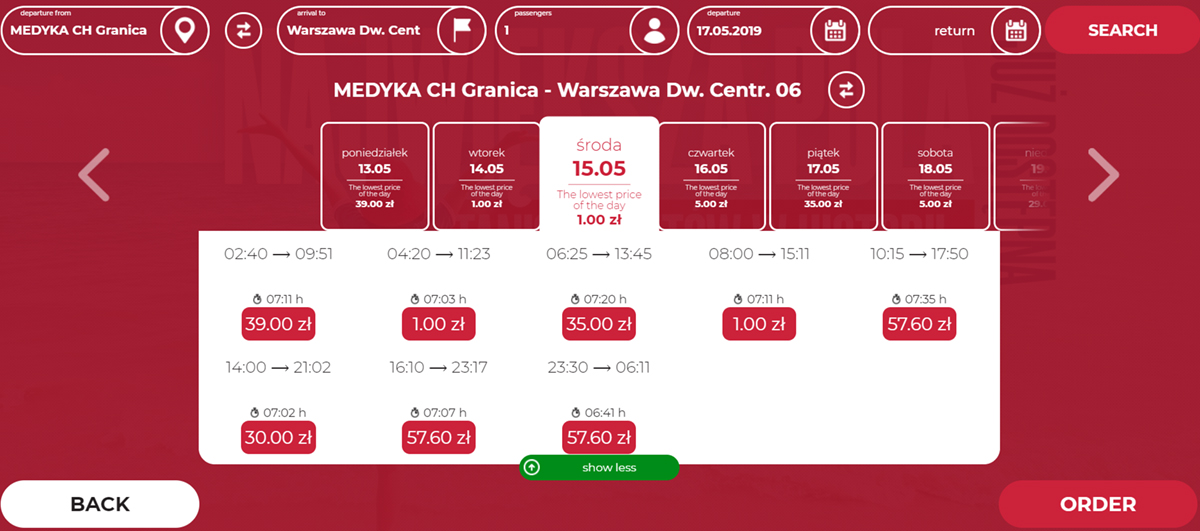Автобусні квитки Медика - Варшава на травень