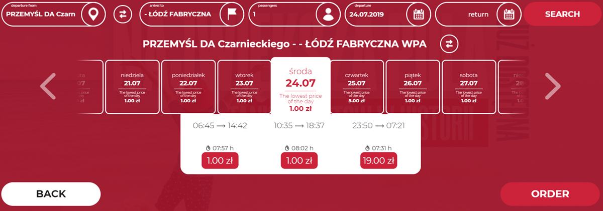 Автобусні квитки Перемишль - Лодзь на липень 2019 року