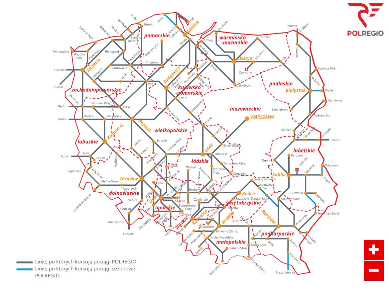 Карта напрямків потягівPOLREGIO