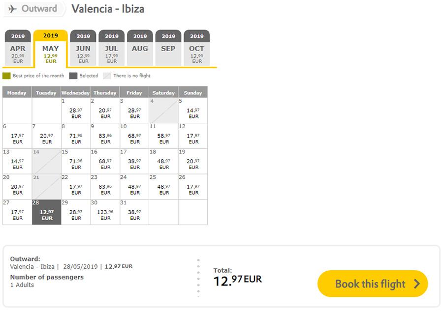 Авіаквитки Валенсія - Ібіца на сайті Vueling