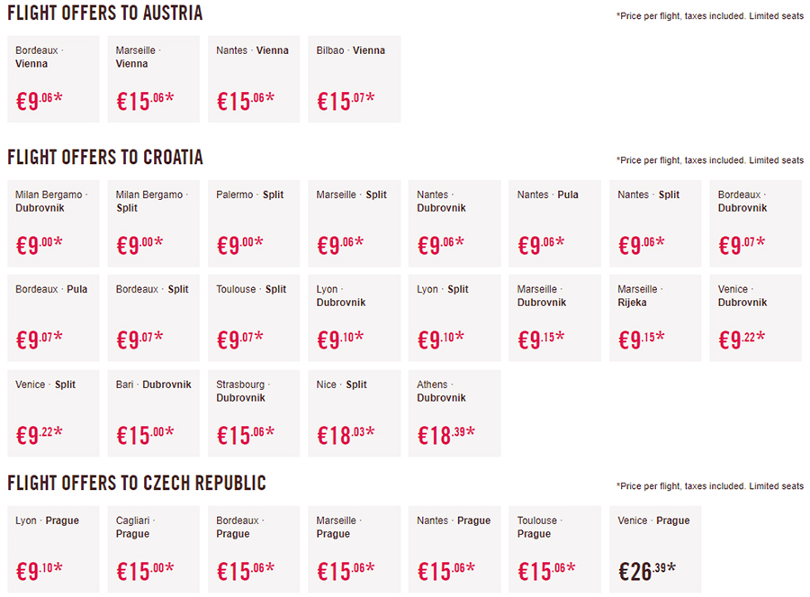 Лоукост-авіаквитки в Австрію, Хорватію та Чехію