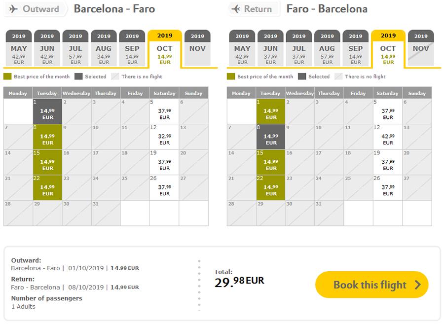 Приклад бронювання квитків Барселона - Фару - Барселона