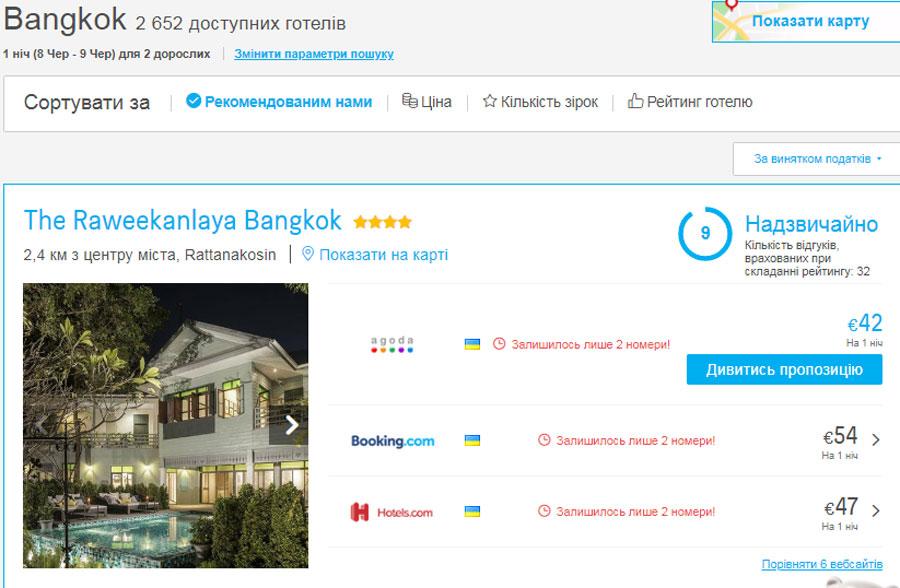 Приклад бронювання The Raweekanlaya Bangkok