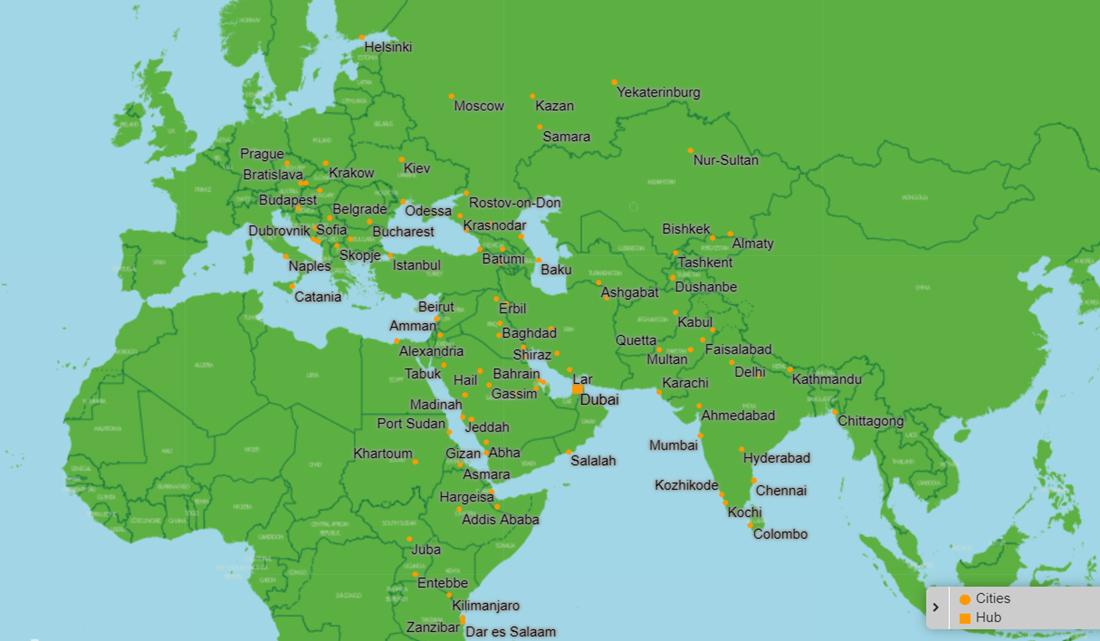Карта маршрутів flyDubai