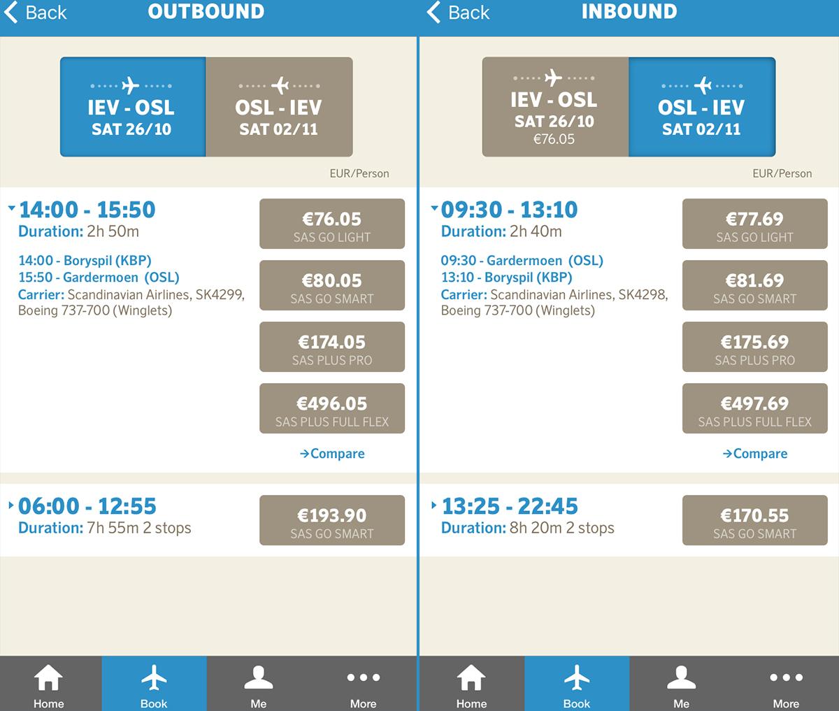 Авіаквитки Київ - Осло - Київ в мобільному додатку SAS