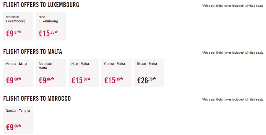 Дешеві авіаквитки в Люксембург, Марокко, а також на Мальту