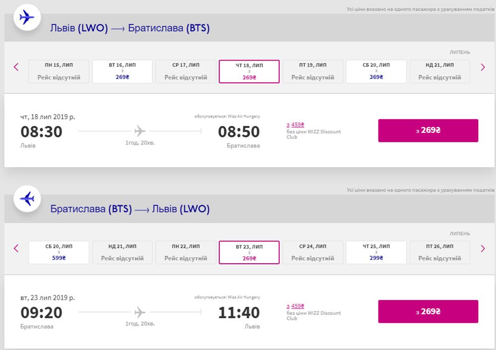 Квитки зі Львова в Братиславу туди-назад зі знижкою Wizz Discount Club