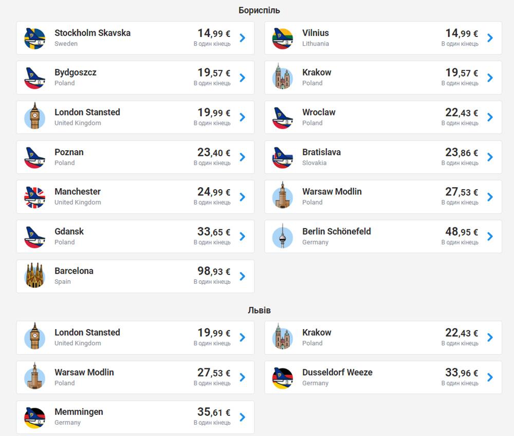 Пошук авіаквитків із Києва та Львова на українській версії сайту Ryanair