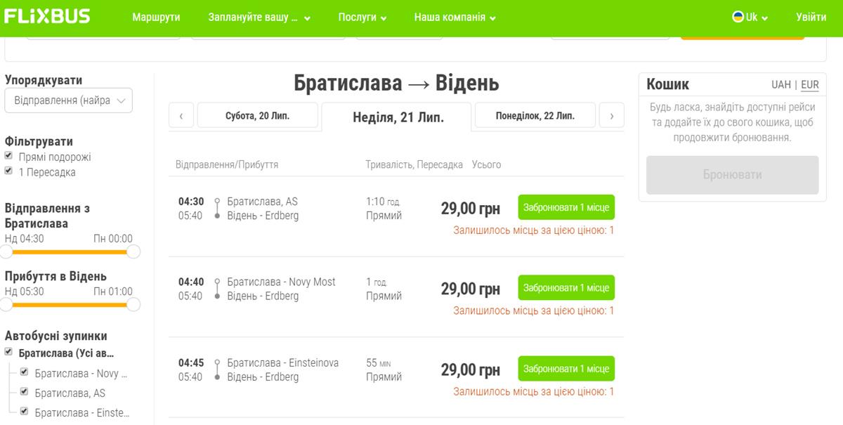 Квитки Братислава - Відень (ціни в гривнях)