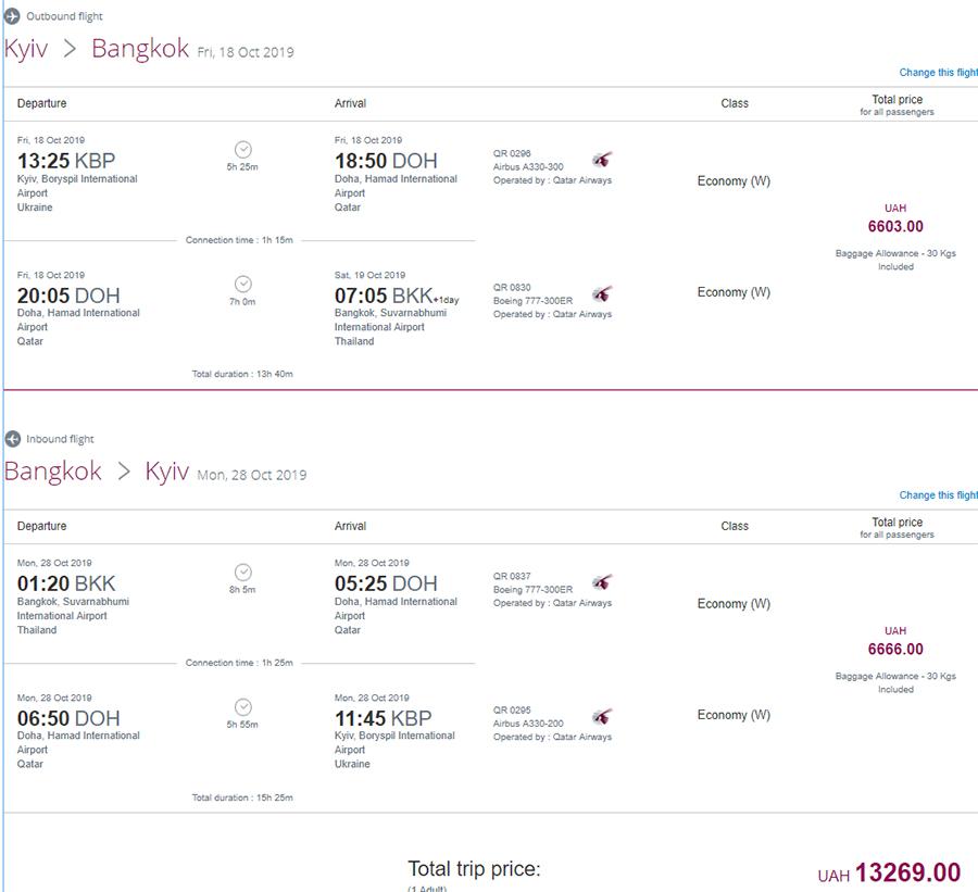 Авіаквитки Київ - Бангкок - Київ на сайті Qatar Airways