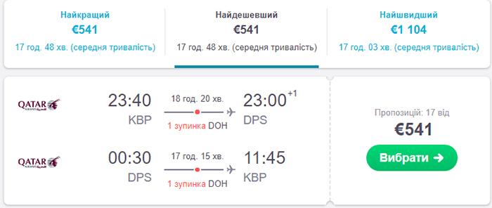Авіаквитки Київ - Балі - Київ від €541