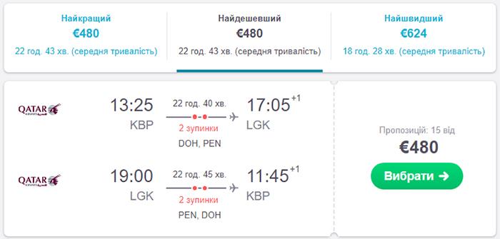 Авіаквитки Київ - Лангкаві - Київ від€480