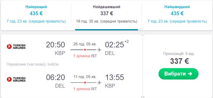 Київ - Делі - Київ від€337