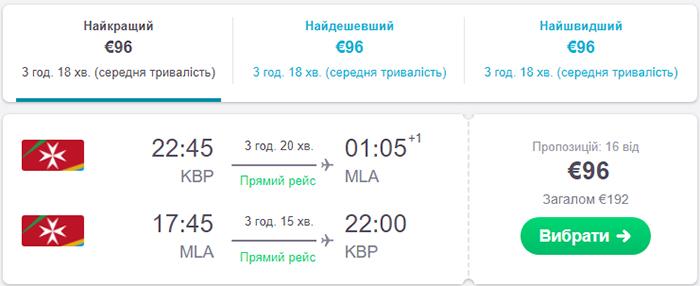 Авіаквитки Київ - Мальта - Київ