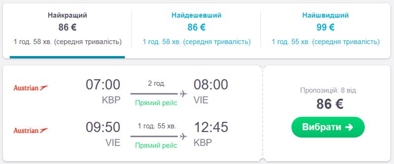 Авіаквитки із Києва у Відень на сайті Skyscanner