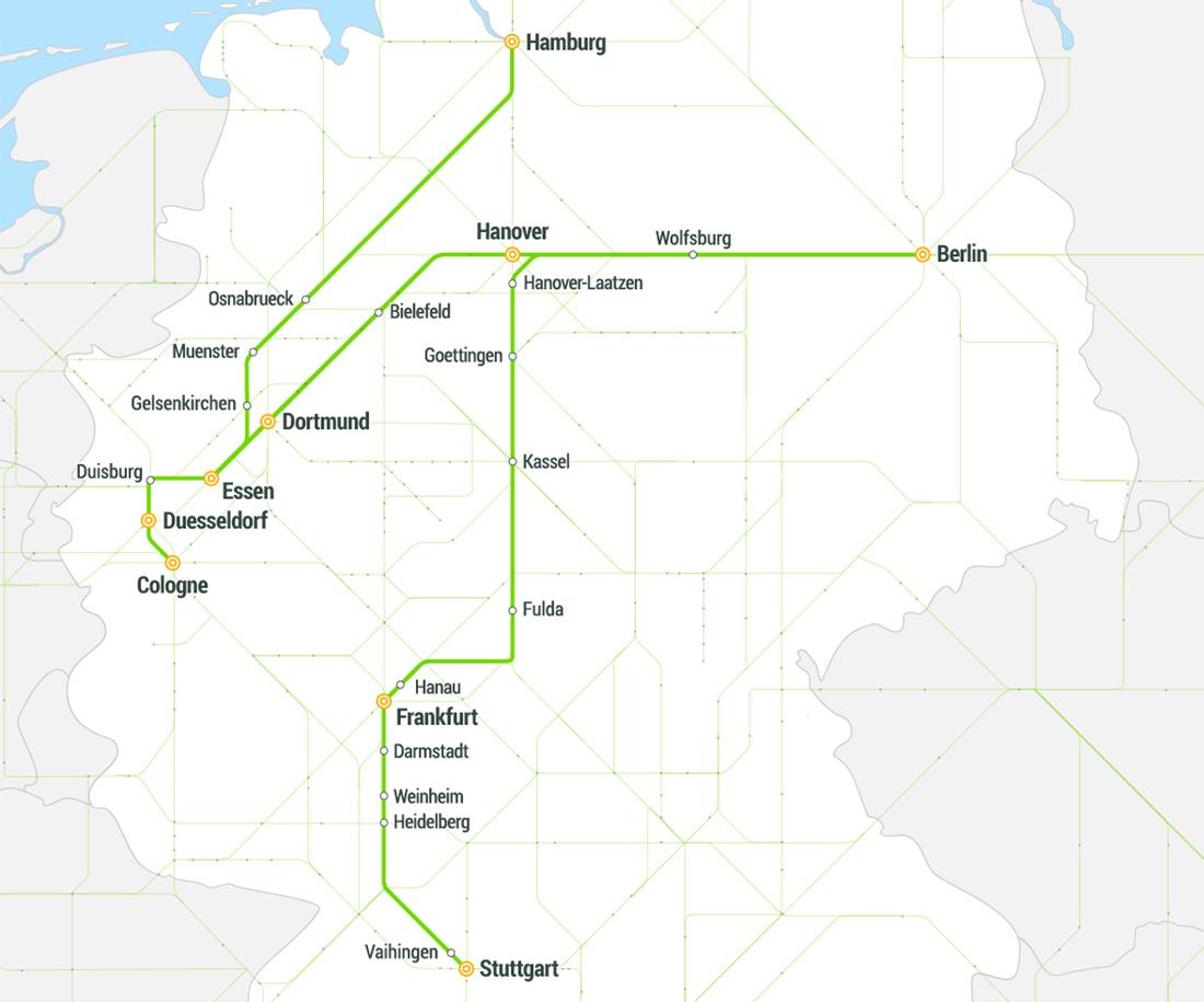 Карта маршрутів Flix Train