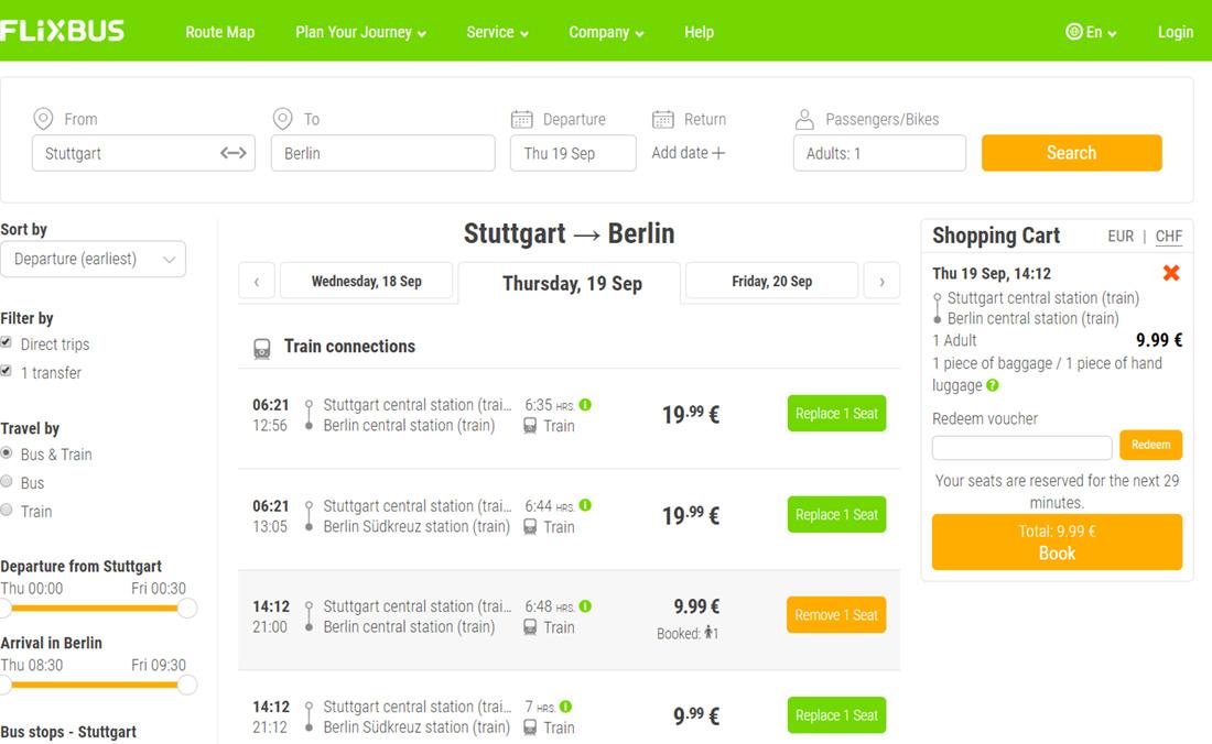 Приклад бронювання залізничних квитків Штутгарт - Берлін