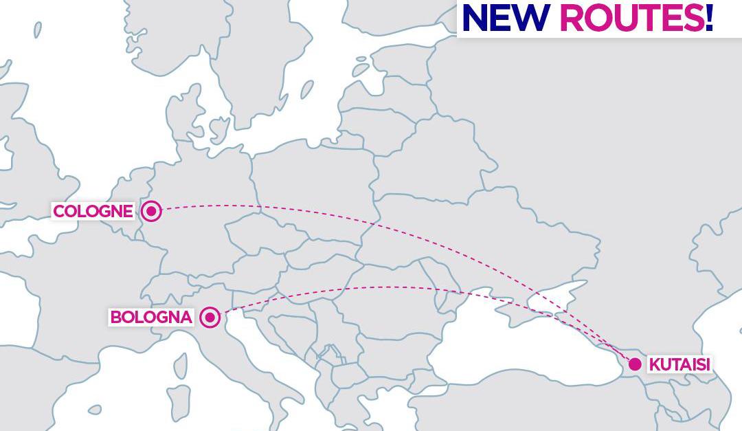 Карта нових напрямків з Кутаїсі