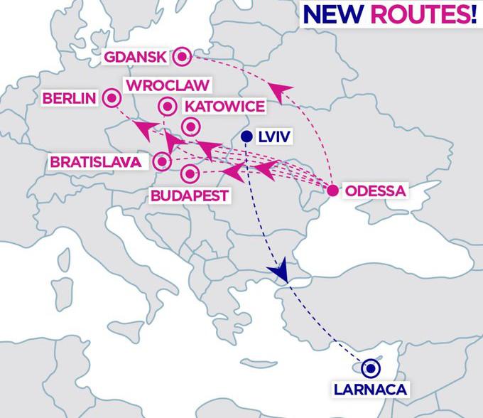 Карта нових напрямків з Одеси та Львова