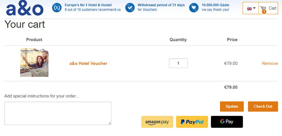 Приклад бронювання ваучера від a&o Hotels