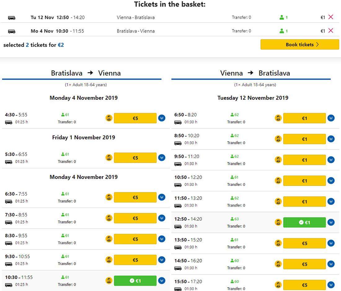 Дешеві автобусні квитки з Братислави у Відень у два боки на сайті RegioJet