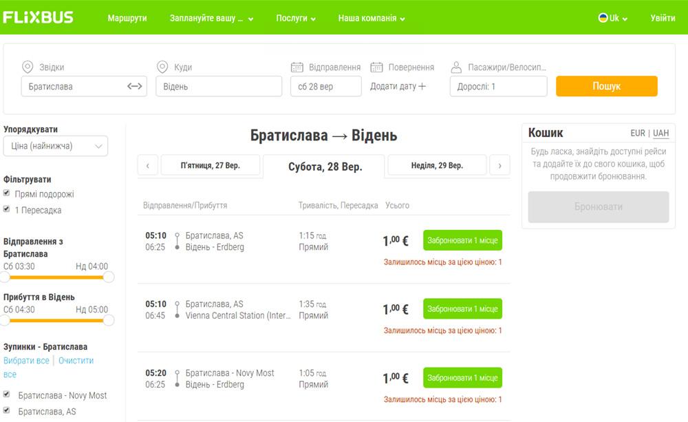 Дешеві автобусні квитки з Братислави у Відень у два боки на сайті FlixBus