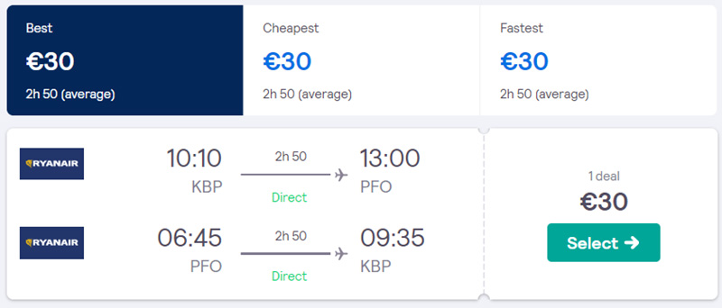 Дешеві квитки із Києва в Пафос туди-назад на сайті SkyScanner