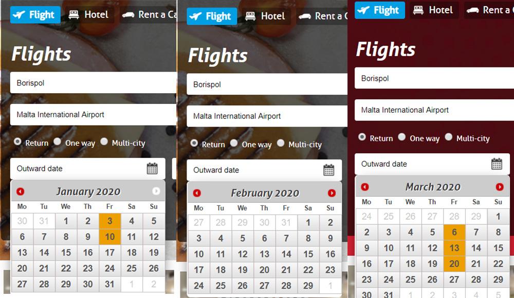 Календар рейсів із Києва на Мальту на сайті Air Malta