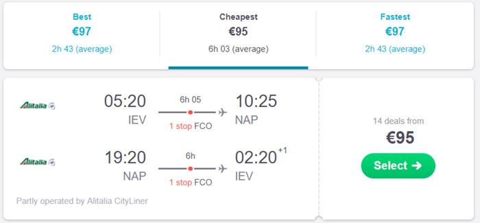 Київ - Неаполь - Київ від €95