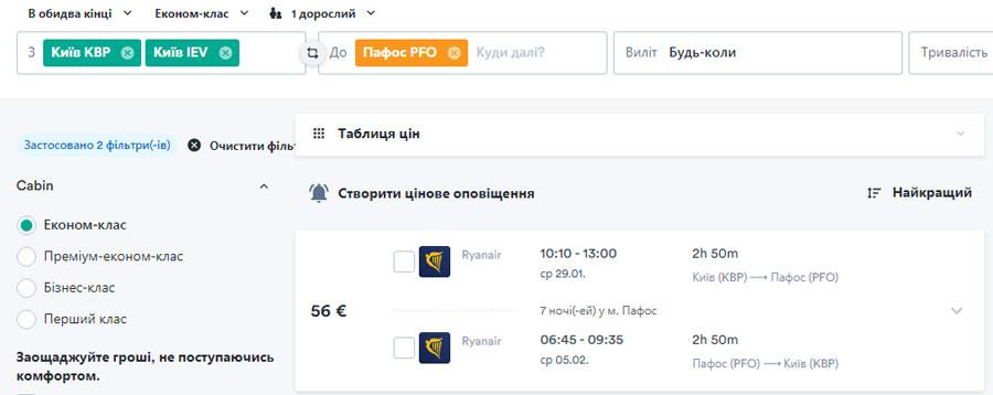 З Києва в Пафос, приклад бронювання