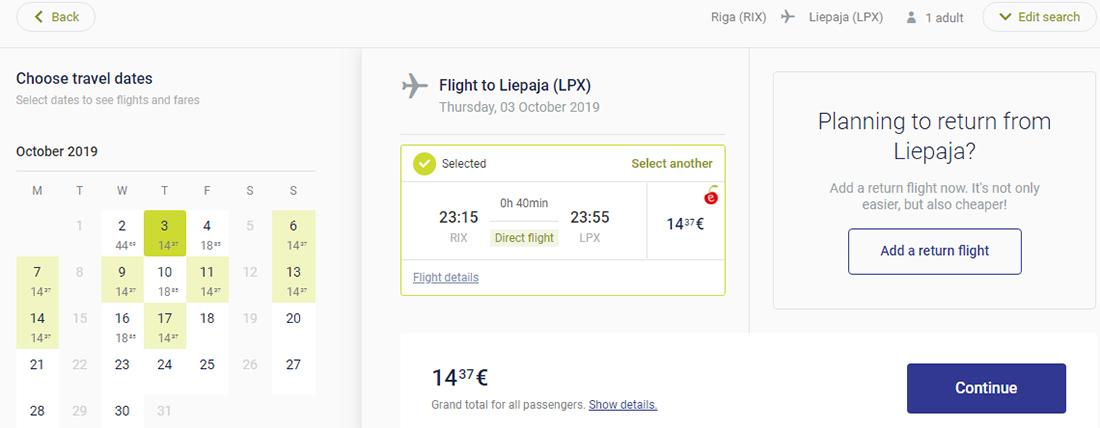 Найдешевші авіаквитки з Риги в Лієпаю