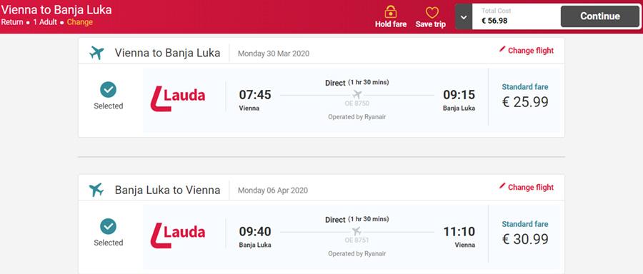 Авіаквитки Відень - Баня-Лука - Відень