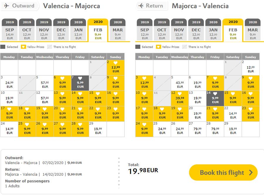 Авіаквитки із Валенсії на Пальму-де-Майорку туди-назад