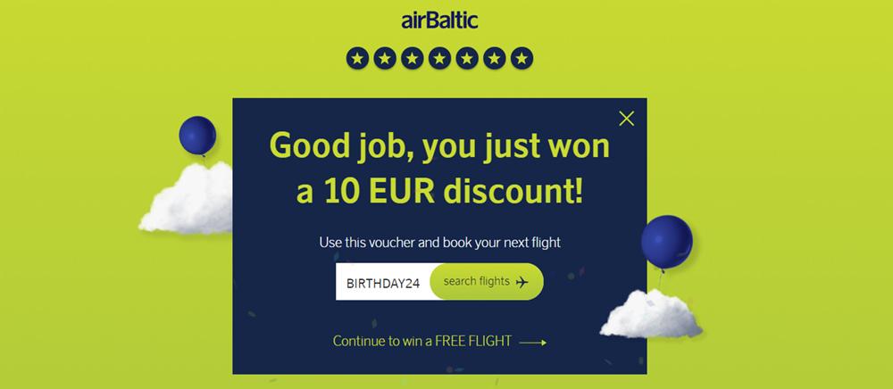 Промокод airBaltic після проведення вікторини