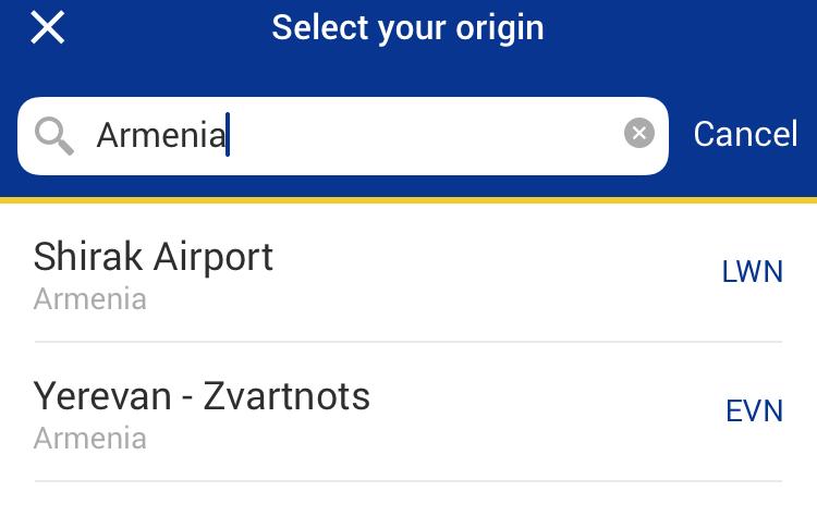 Вірменські летовища в мобільному додатку Ryanair