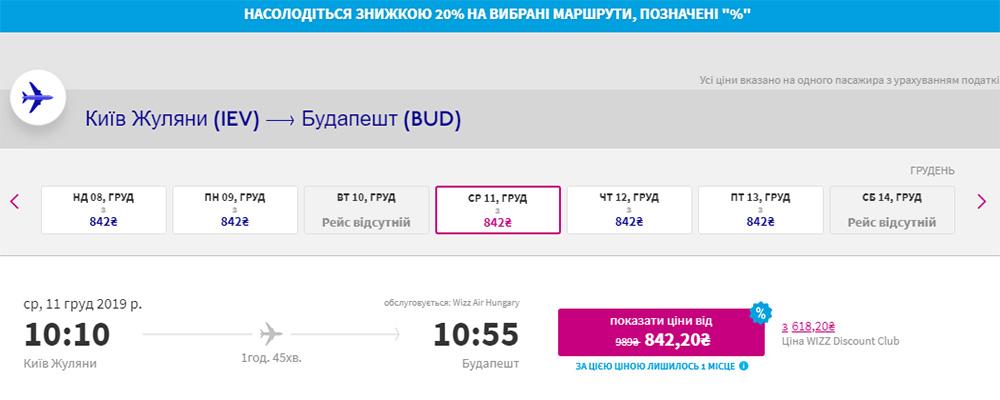 Квитки із Києва в Будапешт зі знижкою 20%