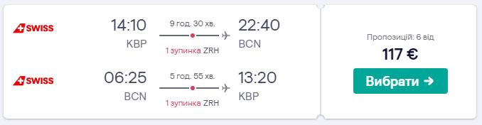 З Києва в Барселону з Swiss