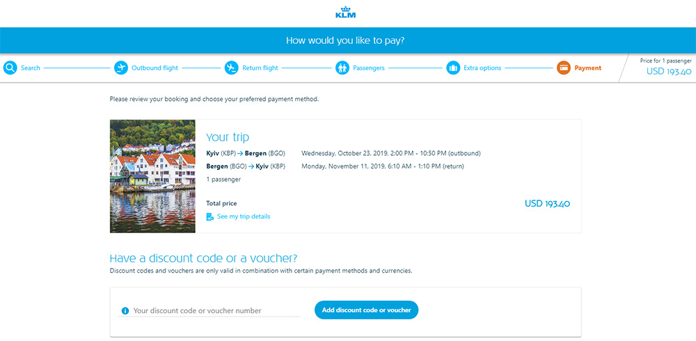 Авіаквитки Київ - Берген - Київ на сайті KLM до застосування промокоду