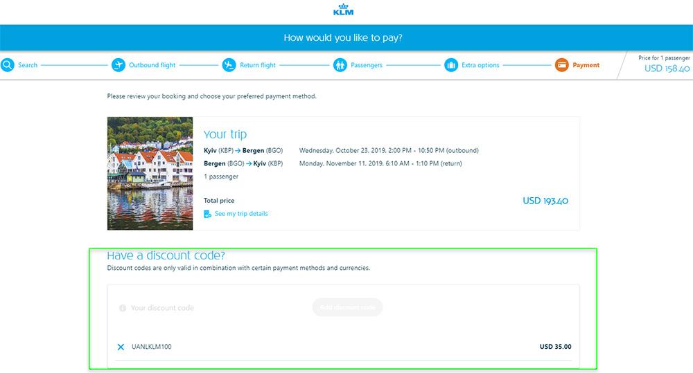 Авіаквитки із Києва в Берген туди-назад після застосування промокоду