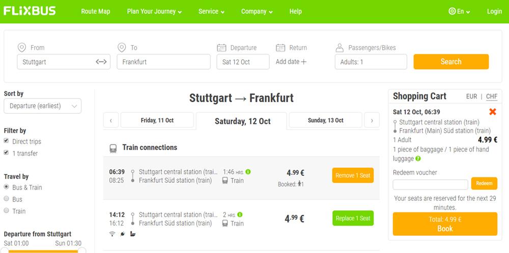 Приклад бронювання квитків Штутгарт - Франкфурт