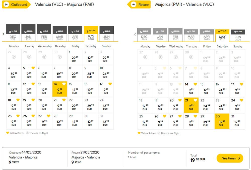 Авіаквитки Валенсія - Пальма-де-Майорка - Валенсія