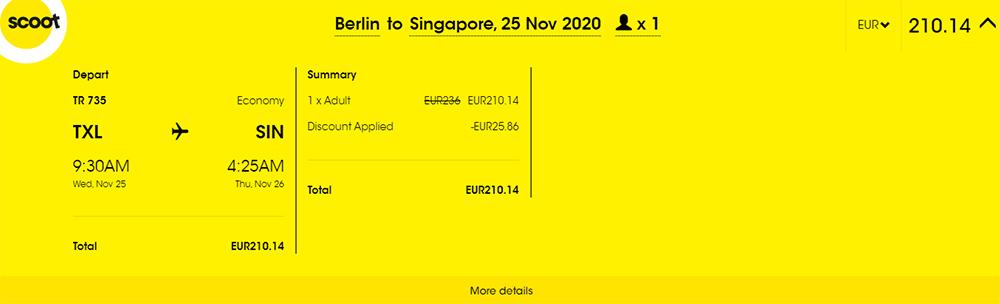 Приклад бронювання авіаквитків Берлін - Сінгапур зі знижкою 15%