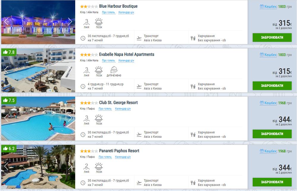 Тижневі пакетні тури на Кіпр з вильотом із Києва 30 листопада (ціна вказана на 2-х осіб)