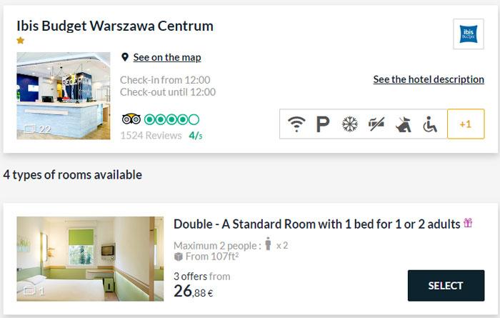 Приклад бронювання номера в Варшаві
